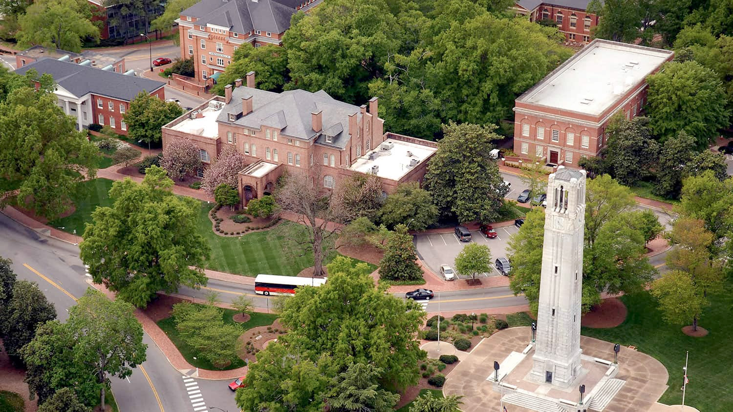 Aerial shot of NC State's campus