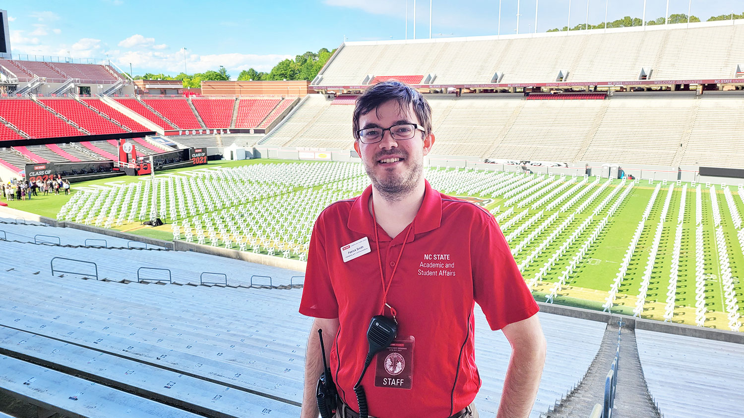 Patrick Smith standing in an empty Carter-Finley Stadium