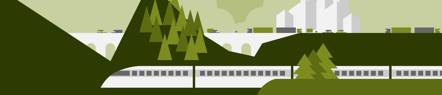 Graphic of high-speed train traveling through the countryside.