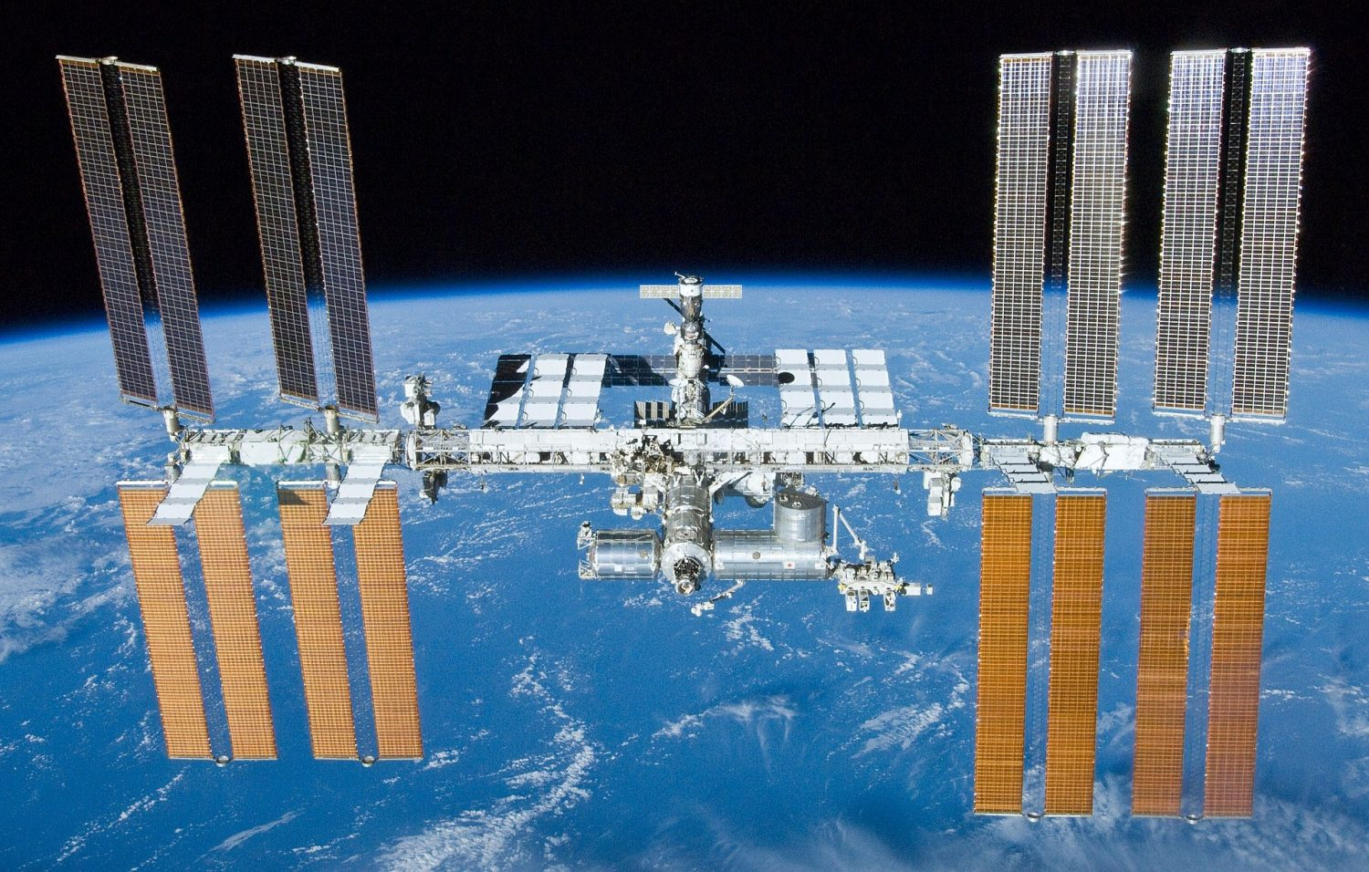The International Space Station in earth orbit.